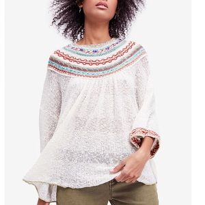 NWT Free People Vacation Embroidered Sweater Sm